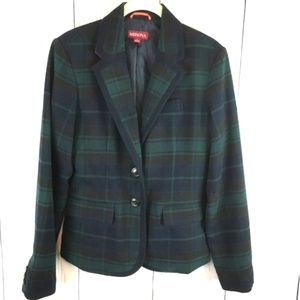Merona Tartan Plaid Wool Blend Fitted Blazer